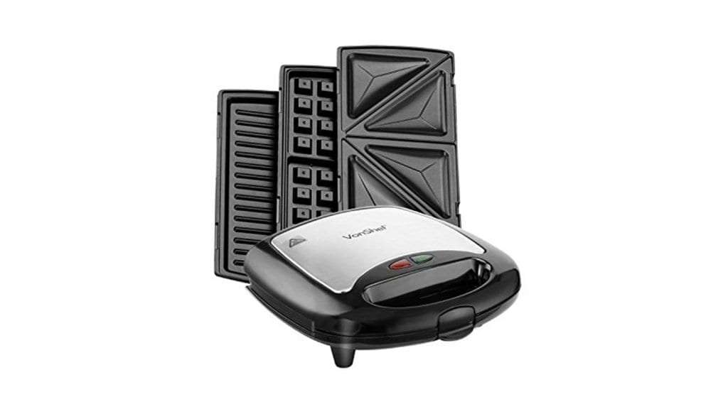 Best Toasted Sandwich Maker - VonShef 3 in 1 Sandwich Panini Maker, Waffle Iron & Grill with Removable Plates