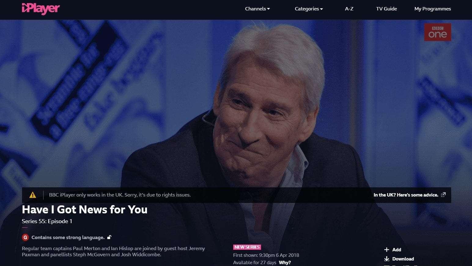 BBC iPlayer detecting VPN