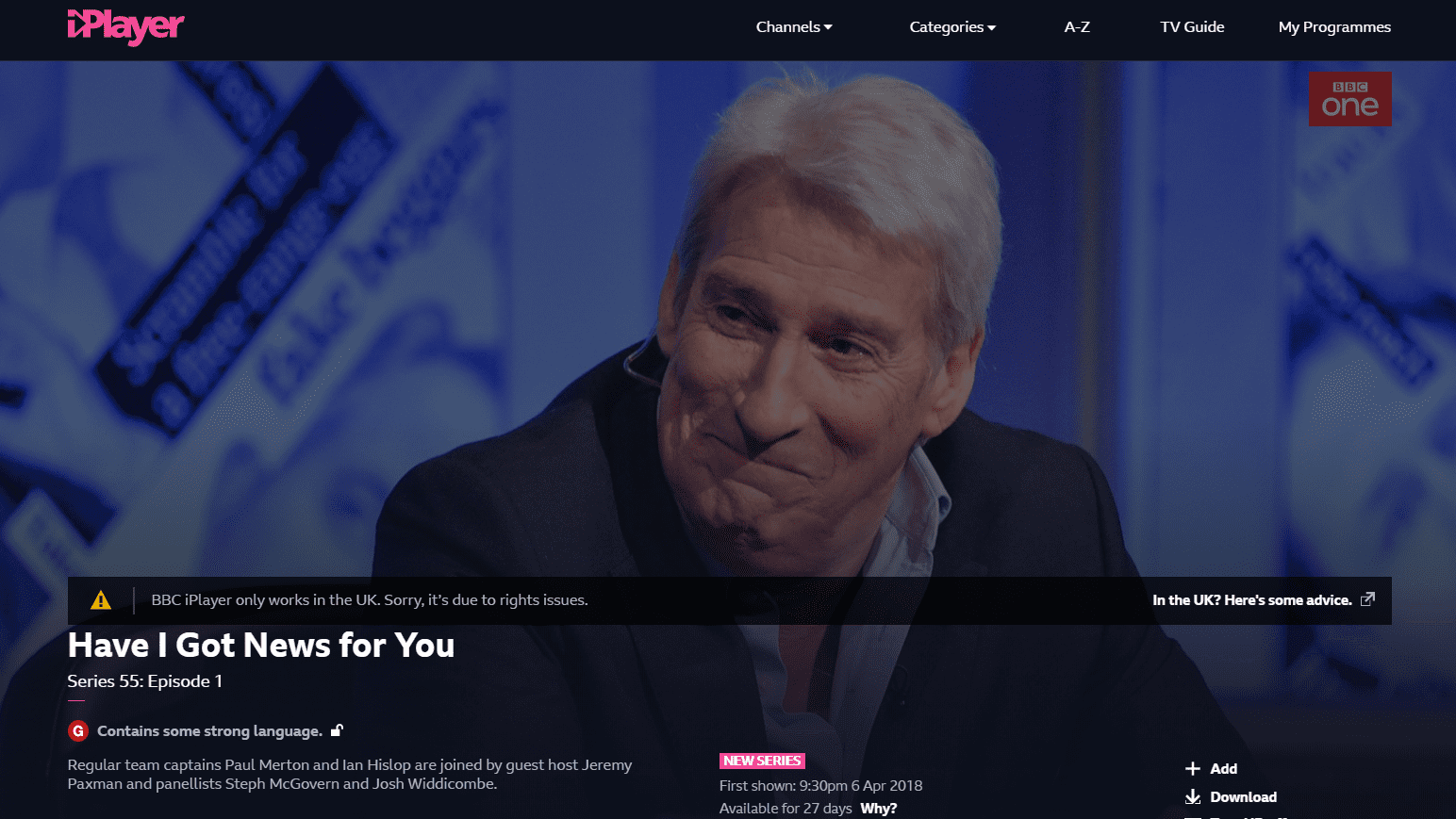BBC iPlayer detecting VPN
