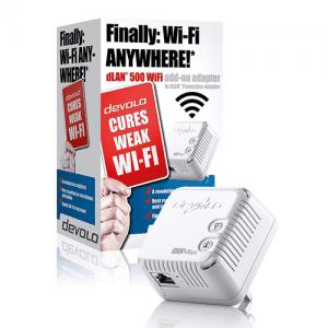 Devolo dLAN 500 Wi-Fi Add-On Powerline Adapter