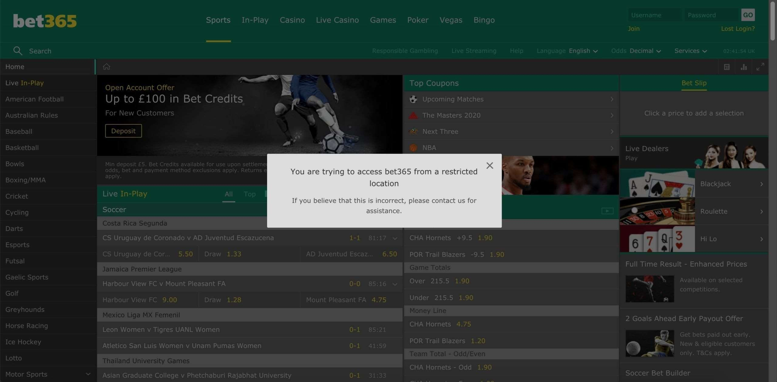 Bet365 not working with VPN