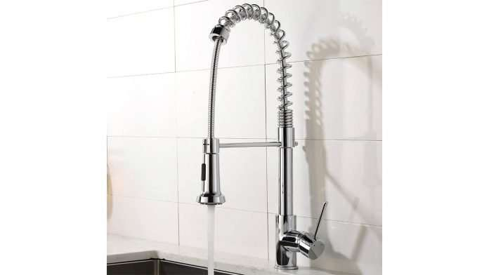 Professional Single Lever Chrome Spring Pre-rinse Pull Out Sprayer Kitchen Tap