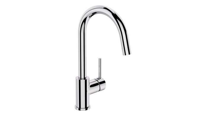 TapsUK Goose Neck Tap with Single Handle, Swivel Spout and Pull-out Mixer