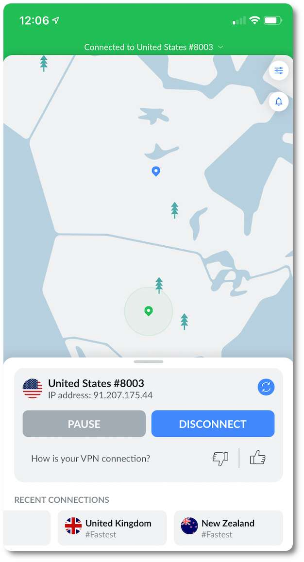 NordVPN US screenshot mobile
