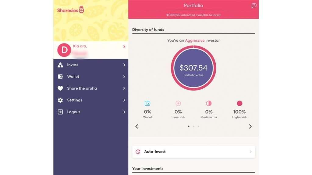 Screenshot of the Sharesies investment platform